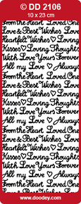 Doodley- DD2106 Mixed Romance Greetings - SMALL SILVER Peel Stickers One 9x4 Sheet