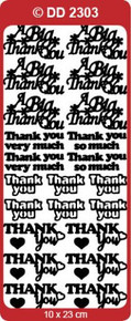 DD2303 SILVER Thank You Peel Stickers One 9x4 Sheet
