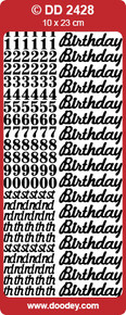 DD2428 SILVER Birthday and Numbers Peel Stickers One 9x4 Sheet