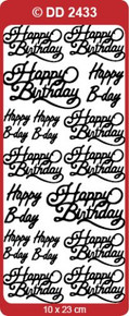 DD2433 SILVER Happy Birthday Peel Stickers in 3 sizes One 9x4 Sheet