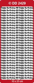 Doodey B101 - DD2429 Happy Birthday - SMALL SILVER Peel Stickers One 9x4 Sheet