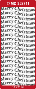 TEXT LABELS Silver Transparent MD352711 MERRY CHRISTMAS Peel Stickers Labels One 9x4 Sheet