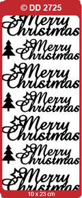 Doodey DD2725 LARGE Merry Christmas - Script SILVER Peel Stickers One 9x4 Sheet