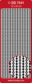 DD7041 Fine Flexible border Baubles and Stars BLACK Peel Stickers One 9x4 Sheet