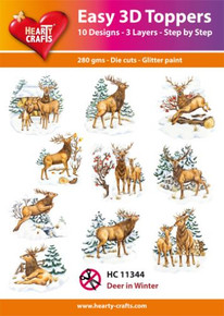 Easy 3D-Toppers Deer in Winter - 10 Large Toppers 3-Layers Each 8x8cm for Card Making