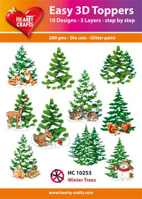Easy 3D-Toppers Winter Trees - 10 Large Toppers 3-Layers Each 8x8cm for Card Making