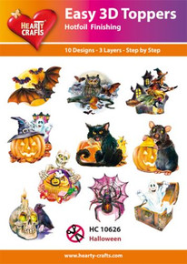 Easy 3D-Toppers Halloween - 10 Large Toppers 3-Layers Each 8x8cm for Card Making