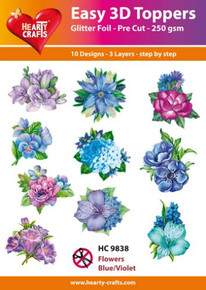 Easy 3D - Flowers, Blue/Violet - 10 Large Toppers 3-Layers Each 8x8cm for Card Making