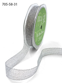 5/8 Inch Metallic Knit Ribbon with Woven Edge - Silver