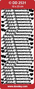 Doodey DD2531 Happy Anniversary - Script GOLD Peel Stickers One 9x4 Sheet