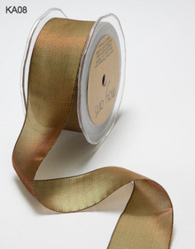 1/2 Inch Woven Iridescent Ribbon - KA08 - OLIVE/BROWN