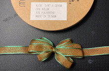 1/4 Inch Woven Iridescent Ribbon -KA38 - DARK ORANGE/OLIVE