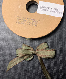 1/4 Inch Woven Iridescent Ribbon -KA08 - OLIVE/BROWN