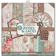 "Stamperia Double-sided Paper Pad 12""x12"" 10/pkg-roses, Lace & Wood; 10"