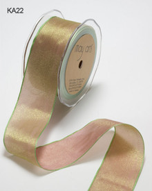 1/4 Inch Woven Iridescent Ribbon -KA-4-22 - Mauve/Sage IMPORTANT NOTE