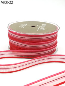 """May Arts Beautiful Sheer Stripe Ribbon Pink Red 1/2"""" x 5 Yards"""