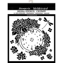 STAMPERIA Mix Media Stencil- Clock, Hortensia