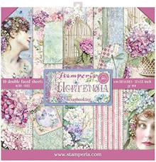 STAMPERIA Paper PAD 12X12 10PK, Hortensia, 10 Designs/1 Each