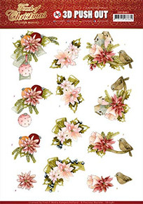 Precious Marieke- 3-D Push-Out- Touch of Christmas- Pink Flowers- SB10461