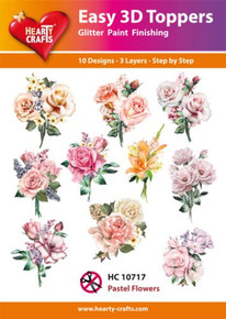 Easy 3D - Pastel Flowers - 10 Large Toppers 3-Layers Each for Card Making