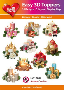 Easy 3D - Advent Candles- 10 Large Toppers 3-Layers Each for Card Making