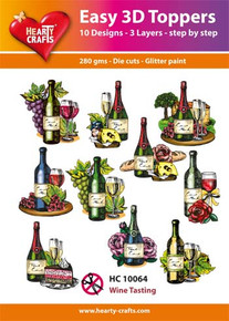Easy 3D - Wine Tasting- 10 Large Toppers 3-Layers Each for Card Making