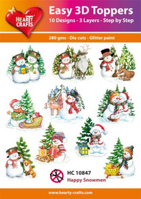 Easy 3D - Happy Snowman- 10 Large Toppers 3-Layers Each for Card Making