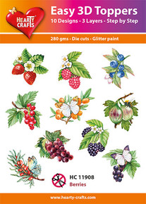 Easy 3D - Berries- 10 Large Toppers 3-Layers Each for Card Making
