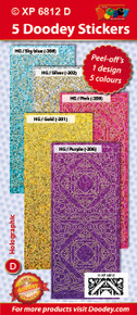 PASTEL Corners Yvonne Holographic Sky Blue, Gold, Pink, Silver, Purple Stickers Set Peel