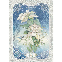 Stamperia A4 Rice Paper Sheet - Poinsettia Winter Tales