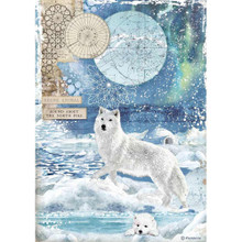 Stamperia A4 Rice Paper Sheet - Wolf, Arctic Antarctic