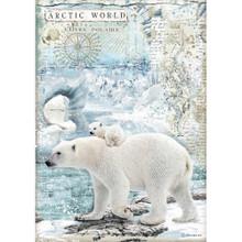 Stamperia A4 Rice Paper Sheet - Polar Bears, Arctic Antarctic