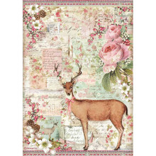 Stamperia A4 Rice Paper Sheet - Deer, Pink Christmas