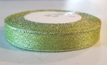 "25 yd Metallic Glitter Ribbon 5/8""- Lemon-Lime Green"