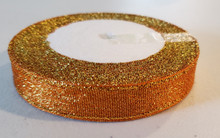 "25 yd Metallic Glitter Ribbon 5/8""- Orange"
