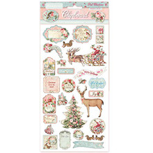 "Stamperia Chipboard - Pink Christmas 6"" x 12"""
