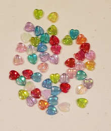 "Heart Shaped Beads- 50 pieces in Assorted Colors (5/16"")"