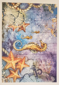Imagination Crafts A4 Rice Paper- Nautical Notions Seahorse