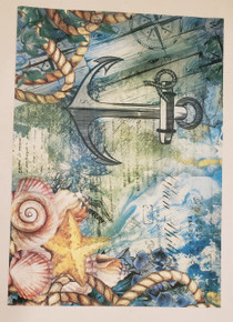 Imagination Crafts A4 Rice Paper- Nautical Notions Anchor
