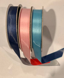 Cascade Double Face Stitched Satin Ribbon - Bundle of Three 20yd Rolls - Red/Pink, Blue/Light Blue, Blue/Silver