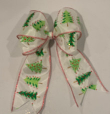 "White with Green Trees Ribbon W/Wired Edge 2.5""X15yd --White Green Trees"