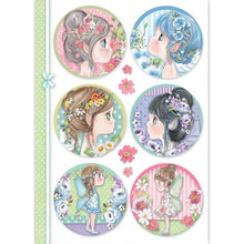 STAMPERIA INTERNATIONAL, Rice Paper A4 Round Tatiana's Fairies