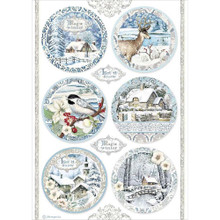 STAMPERIA INTERNATIONAL, Rice Paper A4 Round Landscapes, Winter Tales