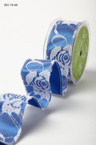 May Art Lace Ribbon - White Lace on Blue Ribbon - 1.5-in x 10 Yards STUNNING!