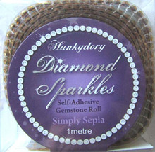 Hunkydory Diamond Sparkles SIMPLY SEPIA Self-adhesive Gemstone Roll (1 meter of Connected 3mm gems)- Gem235