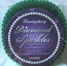 Hunkydory Diamond Sparkles Gorgeous Greens Self-adhesive Gemstone Roll (1 meter of Connected 3mm gems)- Gem235