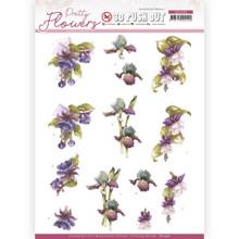 Precious Marieke - Pretty Flowers - Purple Flowers PUSH OUT SB10498 Paper Tole 3-D Decoupage