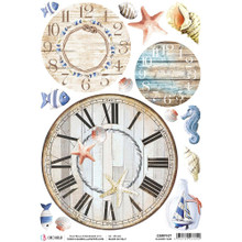 Ciao Bella Papercrafting Rice Paper Summer Time - Beach Clocks