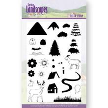 Jeannine's Art Clear stamps Spring Landscape Mountains Set -- 28-stamp Set