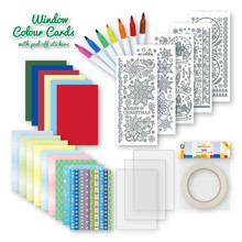 Window Color Cards with Peel Off Stickers -- Christmas 3.9492